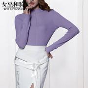 羊绒衫秋冬季女装2018新款针织衫女紫色性感半高领长袖打底衫上衣