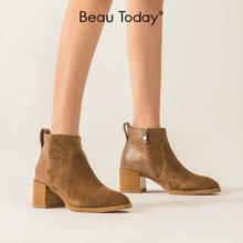 BeauToday切尔西短靴女2019新款秋冬英伦风靴子复古粗跟百搭女鞋图片