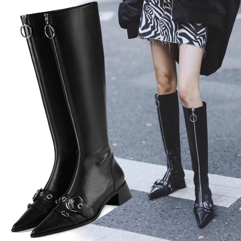 秋冬季新款性感包腿女靴显瘦长筒靴黑色粗跟尖头前拉链高跟马丁靴
