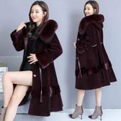 羊剪绒大衣女2018新款冬季连帽狐狸毛中长款修身海宁皮草水貂外套
