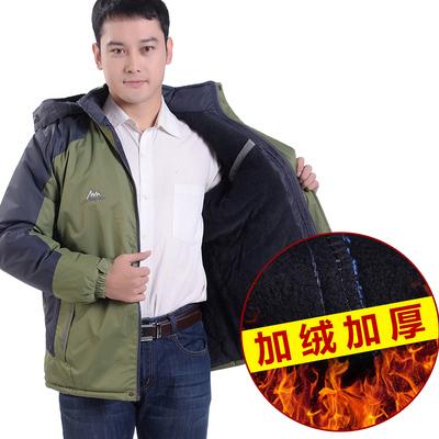 中老年男士加绒加厚冲锋衣加肥大码保暖外套户外登山棉服秋冬新款