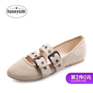 honeyGIRL秋季新款女鞋芭蕾舞鞋时尚玛丽珍晚晚鞋浅口单鞋平底鞋