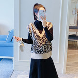 Pregnant women's vest spring and autumn fashion knitted leopard print short outside wearing loose large size pregnant women wear autumn top