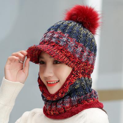 帽子女冬韩版百搭保暖围脖一体棉帽骑车针织帽加绒加厚护耳毛线帽