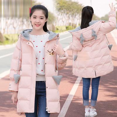 少女冬装外套风衣女加绒加厚棉袄初中学生中长款羽绒棉衣冬季棉服