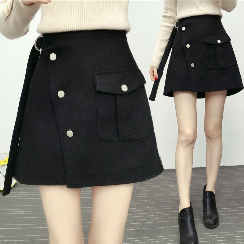 百搭高腰黑色不规则包臀裙子200斤 胖mm毛呢短裙a字半身裙冬加大码