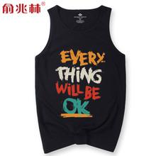 背心男潮牌无袖t恤夏季砍袖汗衫 黑色宽松两根筋个性潮运动跨栏衫图片