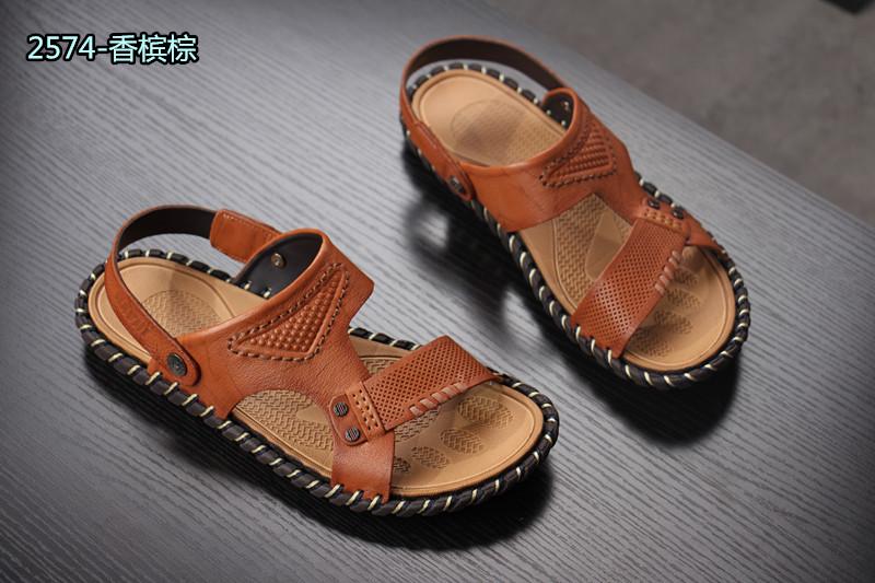 大咖家 夏季新款凉鞋 真皮男士休闲沙滩鞋 头层牛皮防滑凉拖鞋男