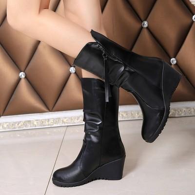 2018年冬季新款坡跟女短靴高跟中筒防水台女靴女皮靴马丁靴女鞋子