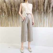 BZA Retro High Waist casual Plaid pants, women's Xia Han edition, 2019 new style loose and slim straight pants