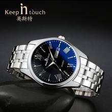 手表女士时尚防水夜光非机械男女手表钢带双日历情侣手表男腕表女