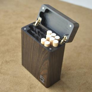 打孔联排便携超薄守菊木头掏空 翻盖烟盒普通烟20支装