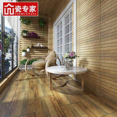 阳台瓷砖文化砖室外背景墙砖美式田园简约现代木纹仿古砖300x600价格