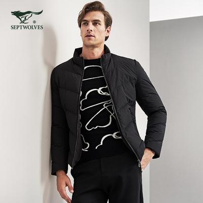 七匹狼羽绒服男士短款加绒加厚羽绒外套韩版修身纯色立领鸭绒棉服