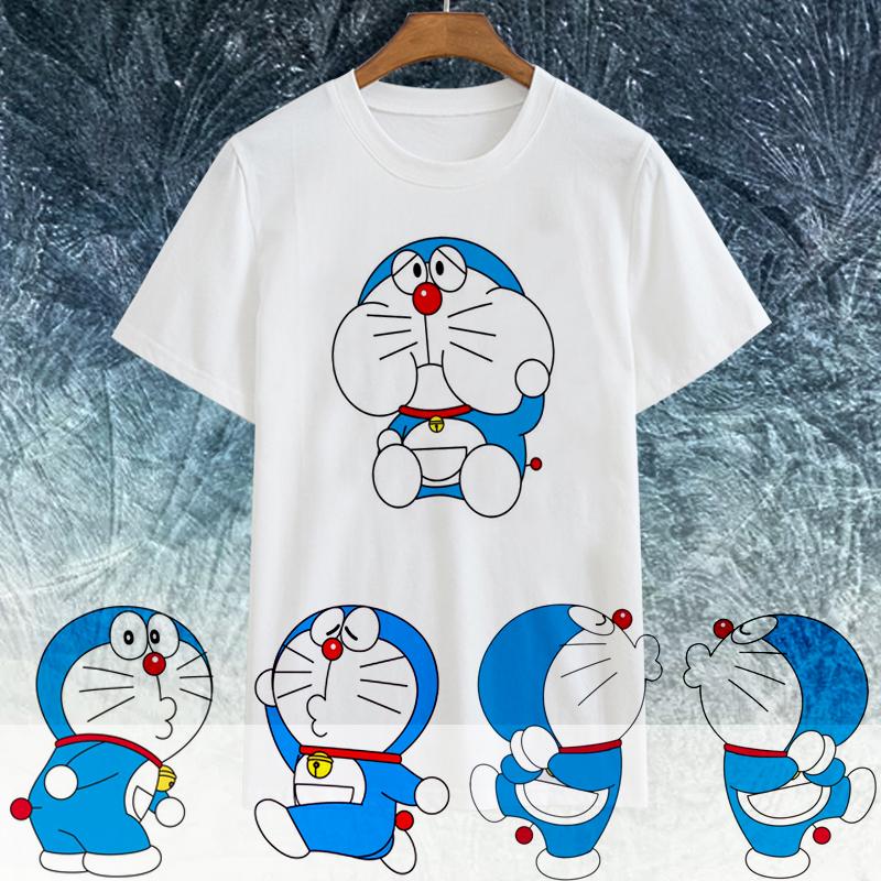 情侣T蓝胖子动漫哆啦服叮当猫t恤休闲短袖