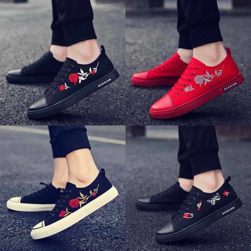 红色男布鞋