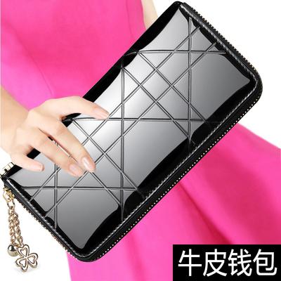 班亚奴2018新款韩版钱包女长款拉链大容量女款格子多卡位牛皮钱夹
