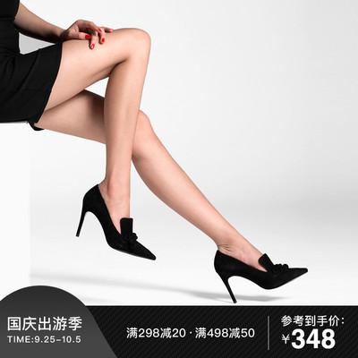 法贝妃春夏新款单鞋尖头细跟磨砂时尚高跟鞋欧美浅口套脚性感女鞋