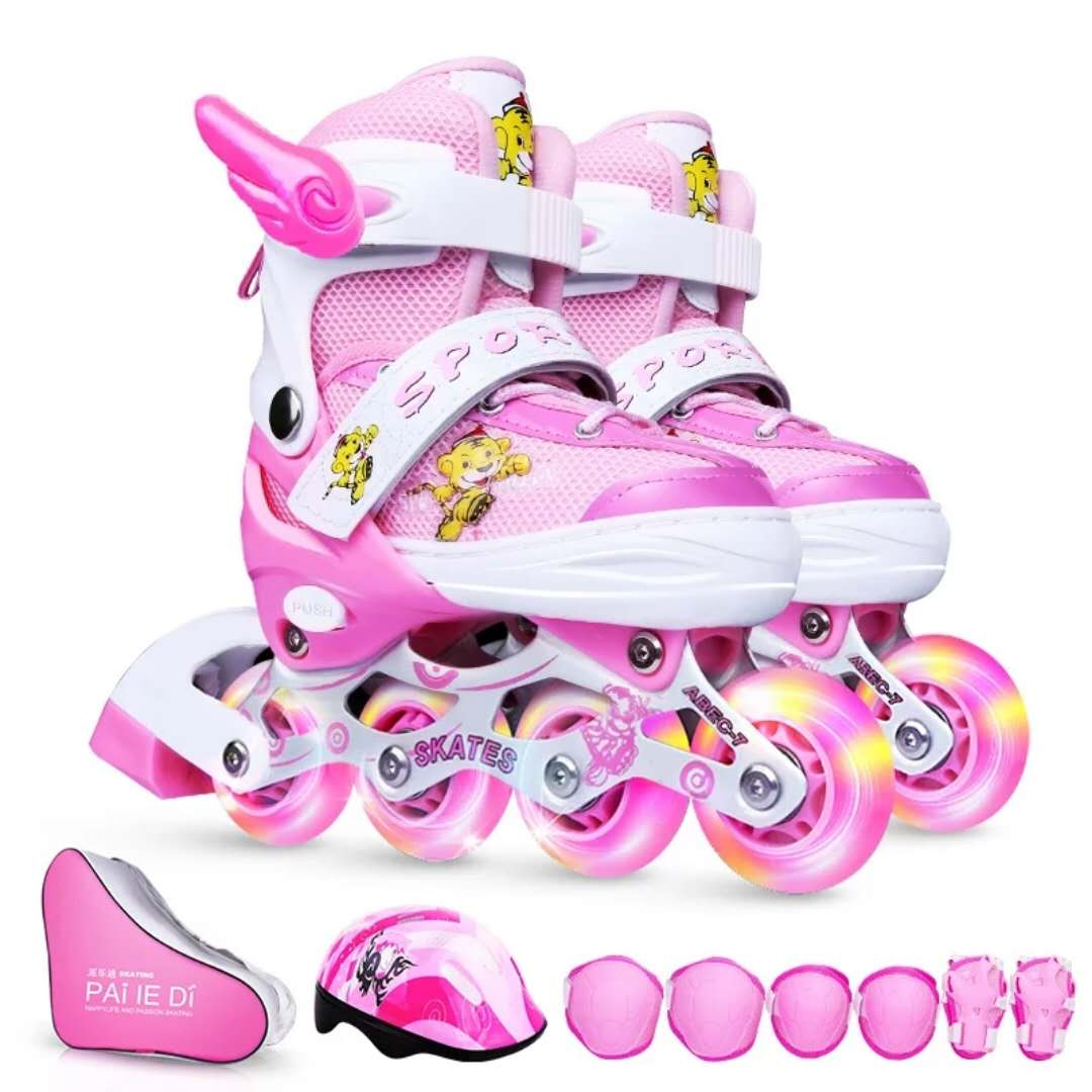派乐迪溜冰鞋儿童全套装男童女童旱冰轮滑鞋初学者小孩直排轮可调