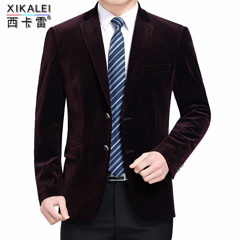 暗红色西装外套男