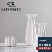 白色简约欧式素烧陶瓷蜡烛台结婚礼物客厅创意家居装饰工艺品摆件