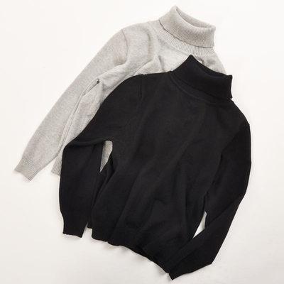924美七店潮牌中大男童高领毛衣纯棉小宝毛衫男孩打底衫灰色黑色