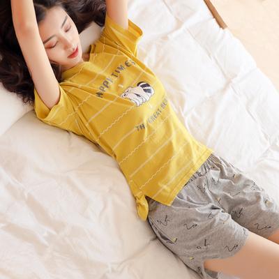 睡衣女夏季纯棉短袖两件套装韩版宽松女士夏天可外穿少女家居服薄