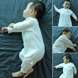 婴儿连体衣服春秋季纯棉新生儿睡衣秋冬男宝宝空调服薄款长袖夏装
