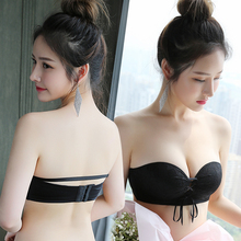 Strapless underwear thin section gathered non-slip upper invisible bra stickers female wedding bandeau thickening small chest summer