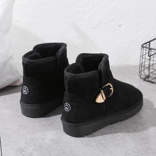 人本短筒雪地靴女皮毛一体冬季新款保暖加绒加厚女鞋厚底短靴棉鞋