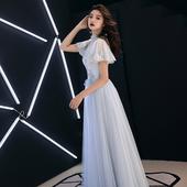 宴会晚礼服裙女2019新款 高贵优雅显瘦伴娘服主持人仙气质学生长款
