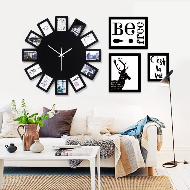 现代简约相框钟表挂钟客厅创意石英时钟静音卧室欧式挂表装饰个性1元优惠券