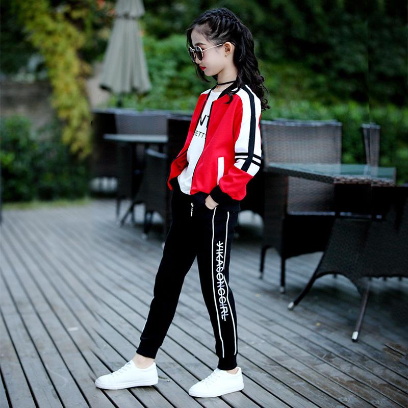 童装女童春装套装2019新款儿童时髦洋气春秋卫衣服大童运动三件套