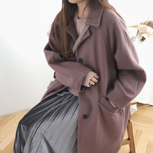 Korean version of women's wear large size loose long single-row button winter wool coat overcoat new style plus cotton thick student girls