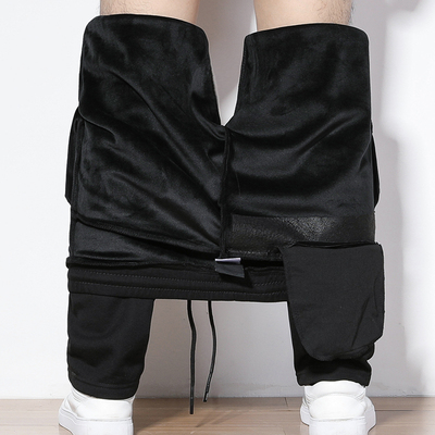加厚运动裤男加绒长裤宽松休闲小脚直筒男裤冬季卫裤冬天棉裤防寒