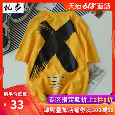 欧美复古短袖T恤男bf宽松国潮牌嘻哈街舞青少年学生半袖上衣体恤