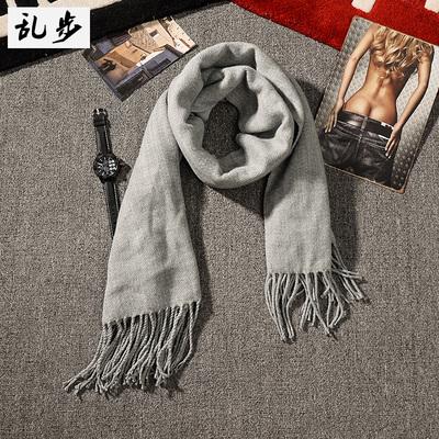 秋冬季长款围巾韩版原宿风男女情侣纯色仿羊绒流苏披肩学生围脖潮
