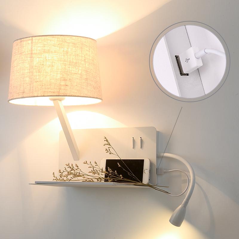 壁灯简约现代北欧酒店卧室置物架带开关墙壁灯 led 创意床头灯阅读