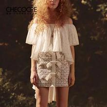 茬客2019夏装新款很仙的白色一字肩上衣女洋气百搭衬衫波点雪纺衫图片