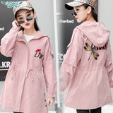 Girls windbreaker jacket long section spring and autumn 2019 new Korean fashion tide clothing children's clothing big children casual shirt