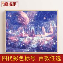 卧室手绘油彩装饰画蔡徐坤陈立农人物填色油画鲁班数字油画diy