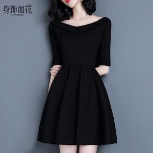 2018春秋冬新款淑女装长袖A字裙打底小黑裙气质黑色娃娃领连衣裙