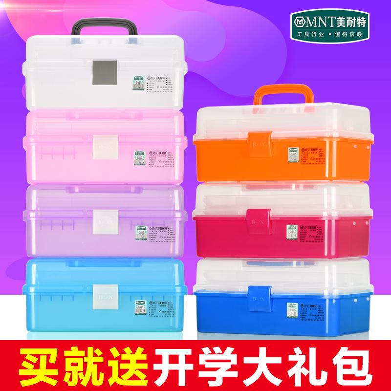 德国美耐特®透明塑料美甲美术工具箱手提小学生画画大三层收纳盒