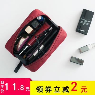 旅行化妝包韓國小号便攜女化妝袋手拿大容量簡約随身化妝品收納包