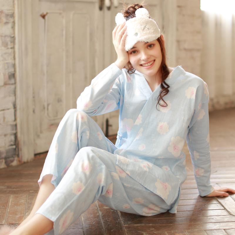 梦蜜夏季薄款月子服和服春秋纯棉怀孕期孕妇睡衣产妇产后哺乳套装