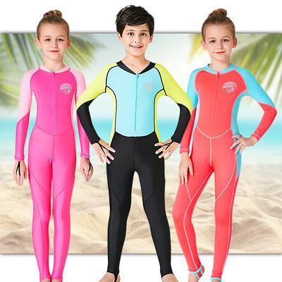 儿童连体潜水服男女孩长袖长裤防晒保暖宝宝游泳速干水母衣中大童
