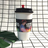 Star should help cup set custom white card paper cup set printing LOGO disposable coffee cup plastic cup set universal
