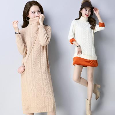 毛衣加厚女秋冬季中长套头宽松韩版新款加绒高领针织打底衫过膝裙