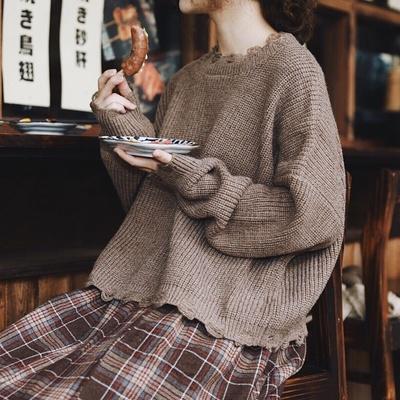 日系女装森系小清新毛衣女秋冬文艺复古甜美风学生宽松针织上衣
