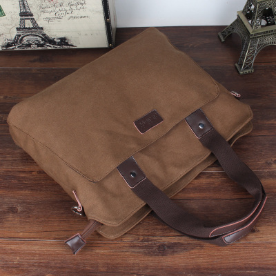 M/爱牧格男包 手提包横款休闲商务包公文包帆布单肩斜挎包休闲包